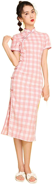 Qipao Improved Cheongsam New Cheongsam Chinese Dress Pink Dress Short Sleeve