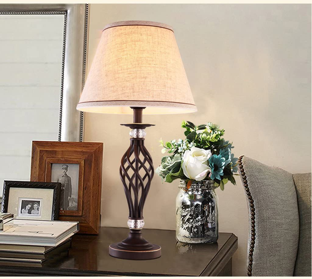 MILUCE American Table Lamp Rural Idyllic Creative Study Lamp Iron Simple Lamp Personalized Decoration Bedroom Bedside Lamp Warm ( Color : Dimmer Switch )
