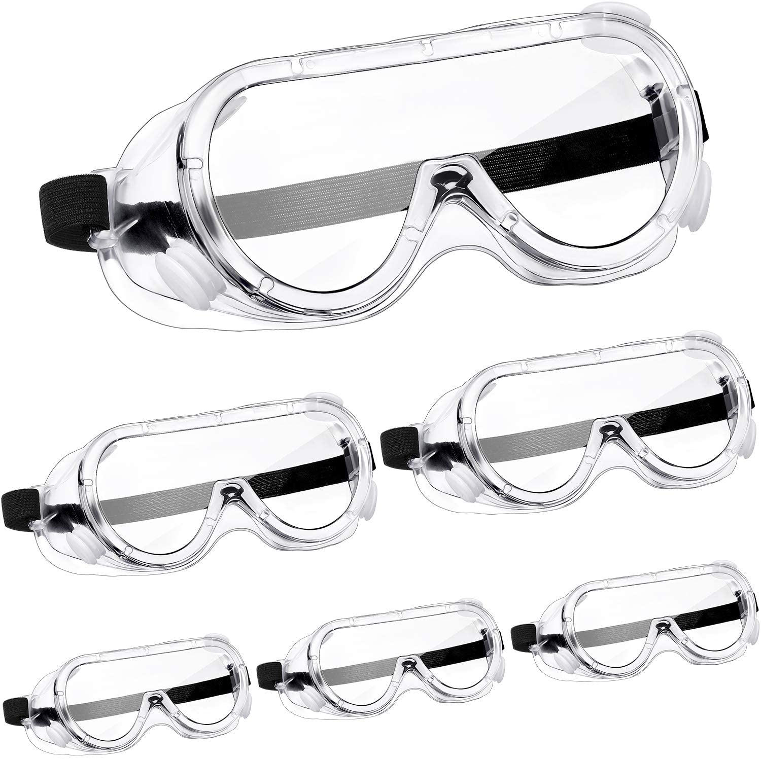 6 Pairs Safety Goggles Protective Safety Glasses Chemical Splash Resistant Goggle Clear Adjustable Goggle for Home Lab Workplace Eye Protection (Black)