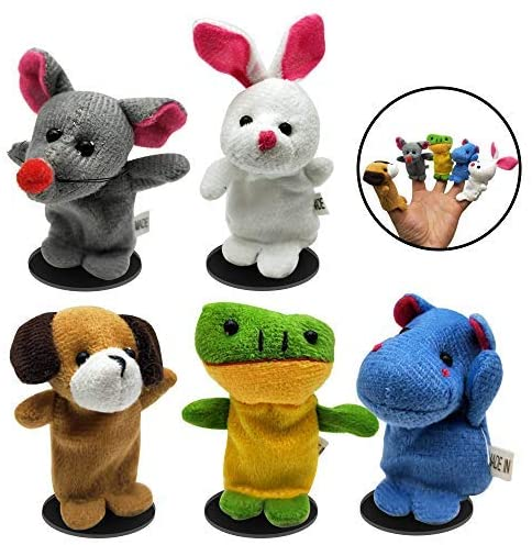 OYEFLY 5 Pcs Finger Puppets Filled Bright Colorful Easter Eggs with 2.45'' Cartoon Animal Soft Velvet Dolls Props Toys Easter Basket Stuffers Shows, Playtime, Schools