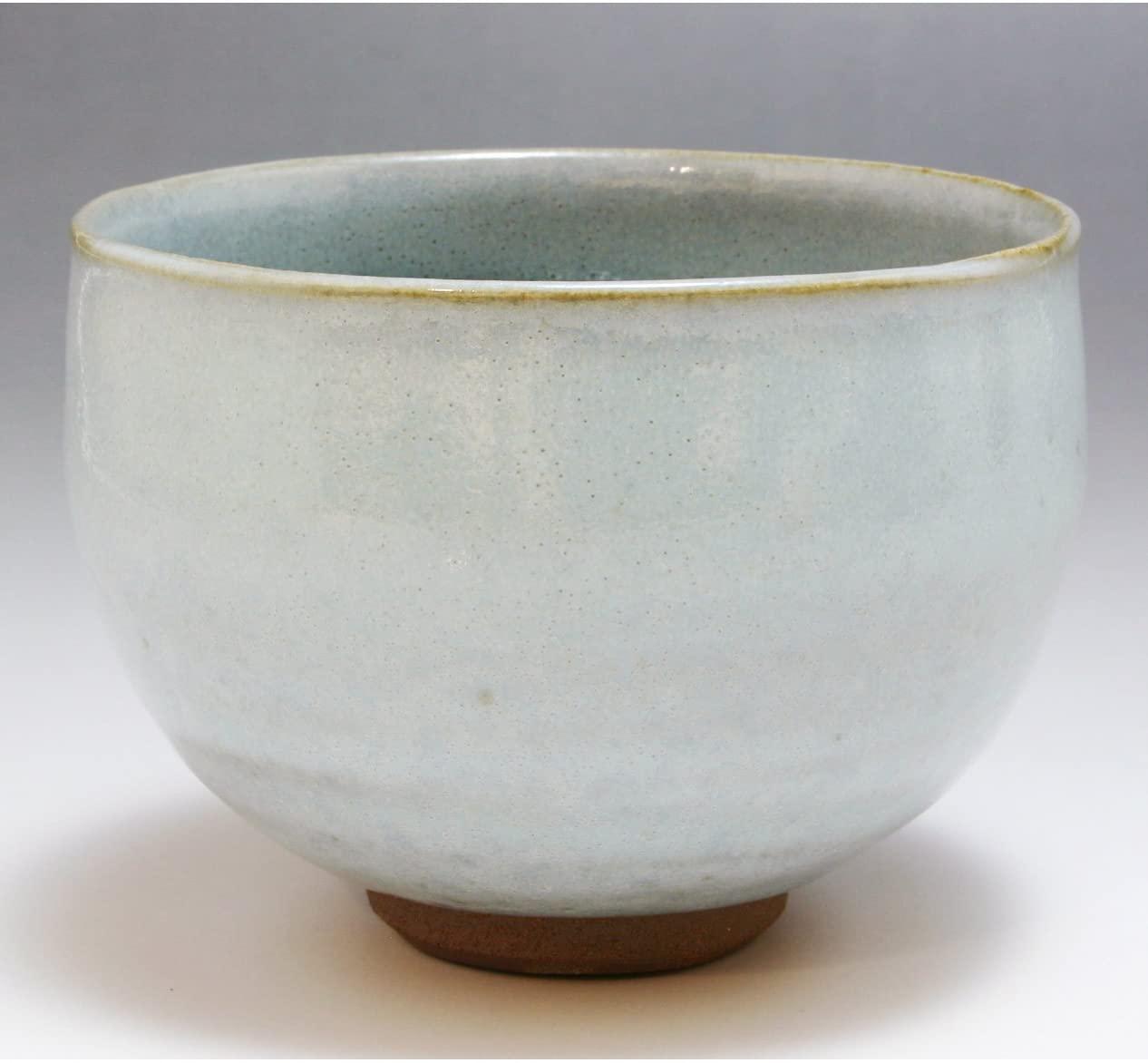 Kiyomizu-kyo yaki ware. Japanese Matcha chawan teabowl Geppaku glaze with paper box. Ceramic. kymz-TDG398