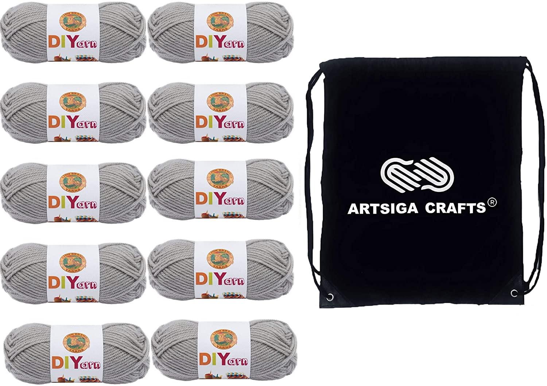 Lion Brand Knitting Yarn DIYarn Grey 10-Skein Factory Pack (Same Dye Lot) 205-149 Bundle with 1 Artsiga Crafts Project Bag