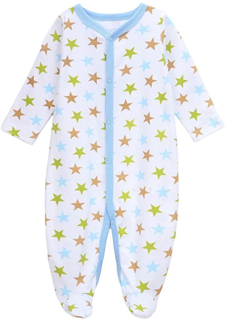 BABE MAPS Baby Boys Girls Organic Cotton Pajamas One Piece Zip Front Sleeper for Newborn