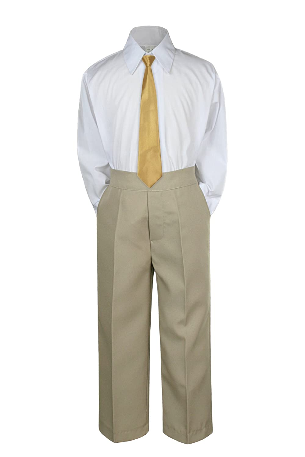 3pc Formal Baby Teen Boys Gold Necktie Khaki Pants Sets Suits S-14 (2T)