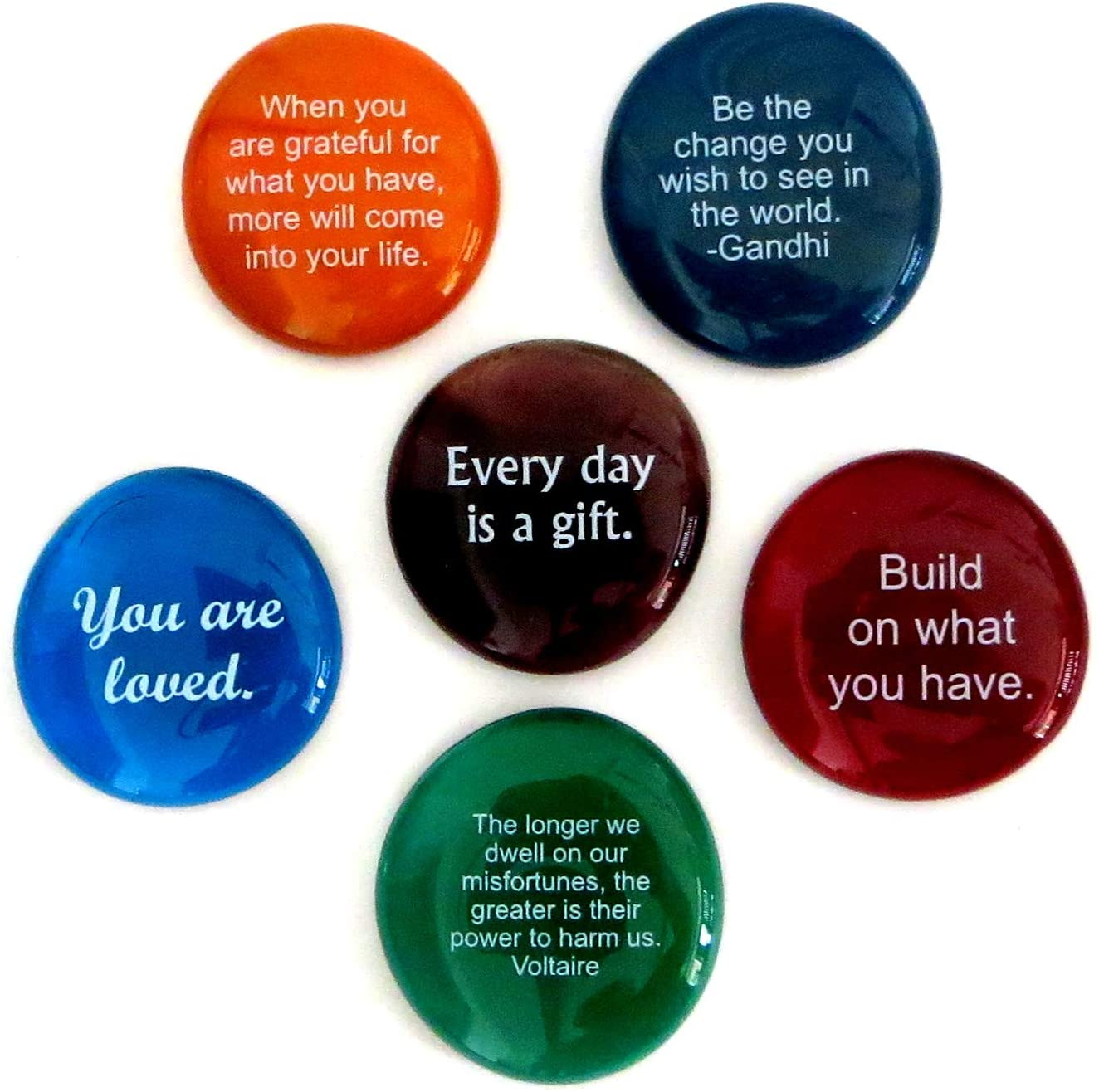 Lifeforce Glass Encouragement Stones, Motivational and Inspirational Quotes and Sayings on Translucent and Opaque Glass Stones, Set of 6
