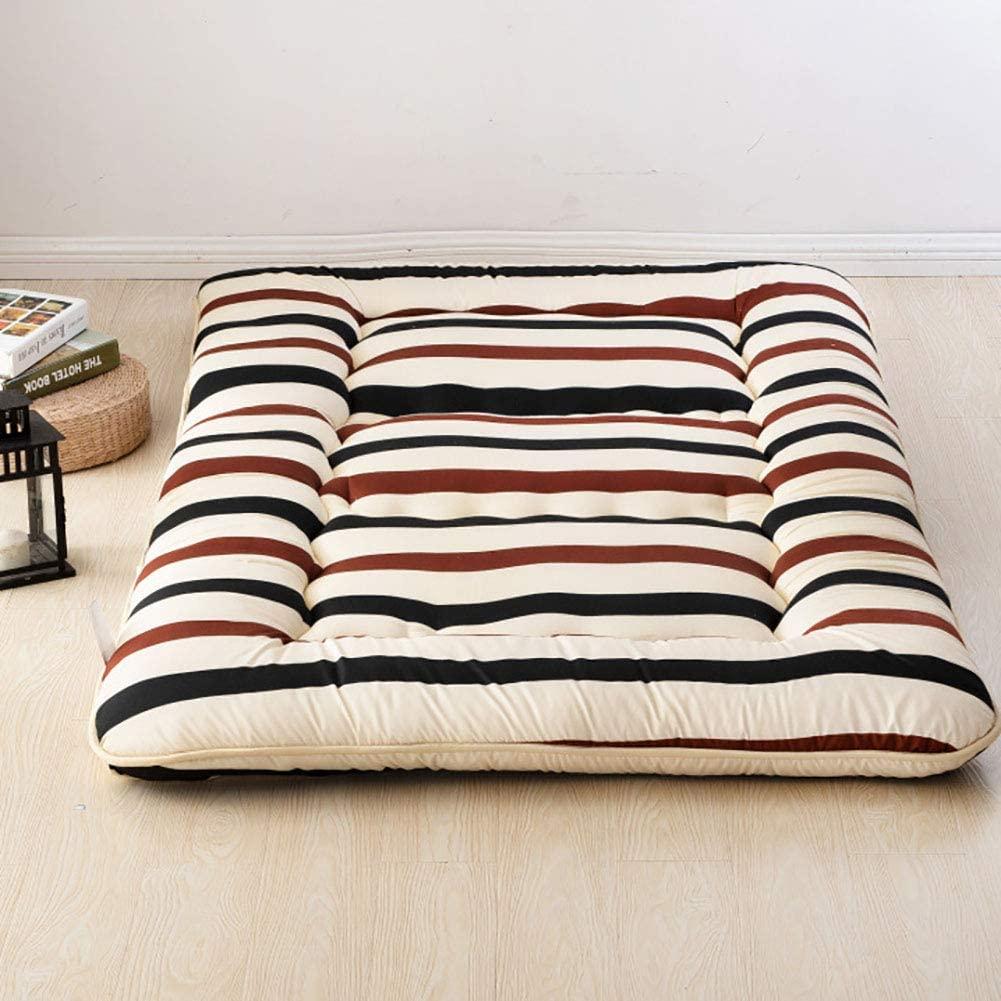 TOPYL 100% Cotton Futon Roll Up Portable Camping Mattress,Printed Floor Sleeping Pad,Japanese Floor Mattress Shikibuton 180x220cm(71x87inch)