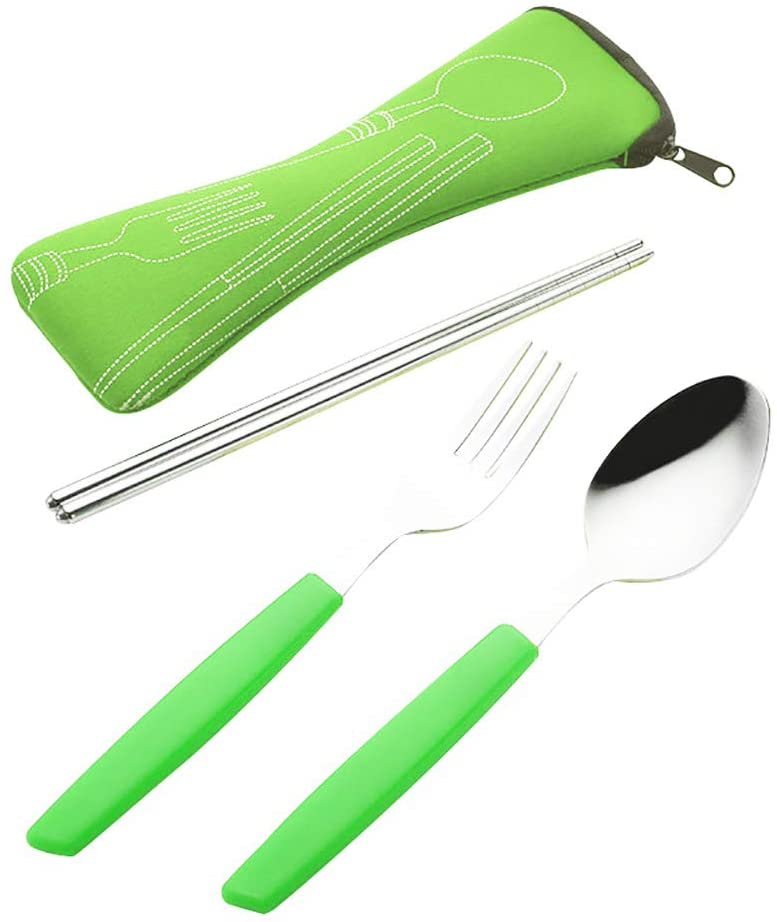 Cutlery Set Maserfaliw Portable Stainless Steel Fork Spoon Chopsticks Picnic Travel Camping Cutlery Set - Green, Classic And Practical Best Gift For Family And Friends, Essential For Home.
