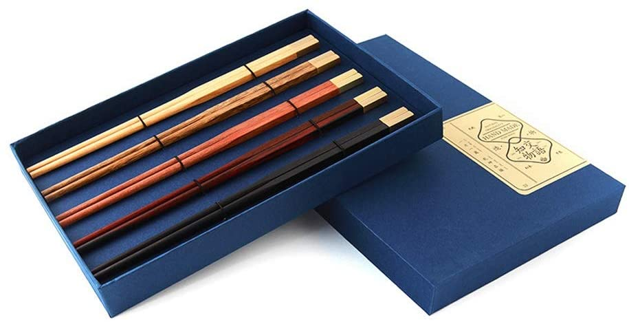 Zhengtufuzhuang Chopsticks - High-Grade Chinese Log Mixed Chopsticks, Portable Tableware Set, Environmental/Non-Slip/high Temperature Resistant, Reusable, 5 Pairs, 0.7250.4cm Feel Delicate