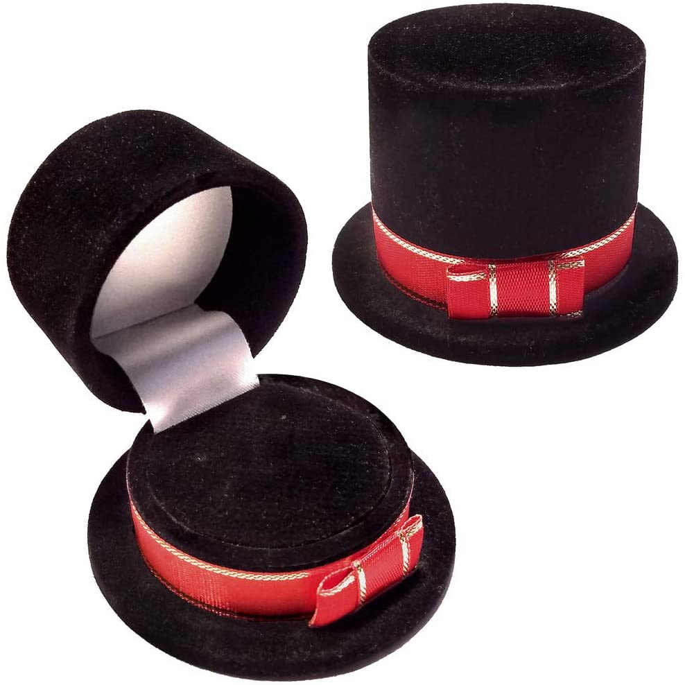 Unique Black Velour Top Hat Gift Box, Ring, Pin, Etc 1020067-24PK-NF No