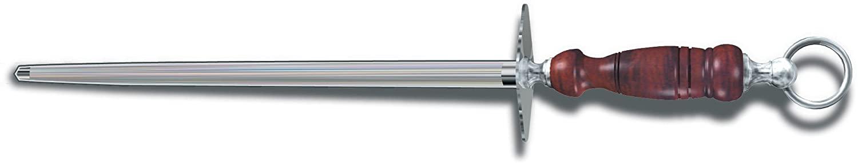 Victorinox 7.8991.24 Honing Steel 12-Inch Round Regular Cut, Dark Wood Handle, silver/brown