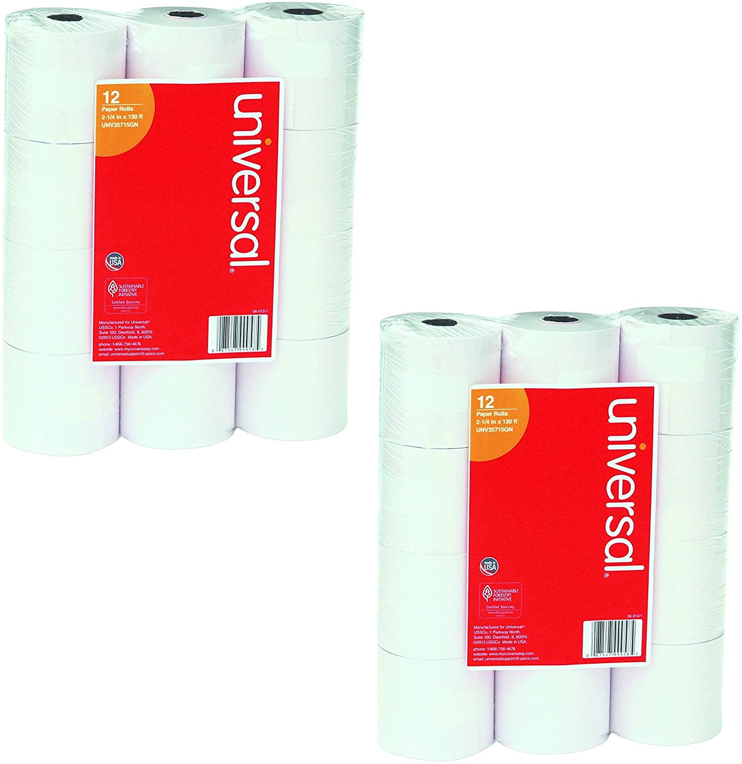 Universal : Single-Ply Adding Machine/Calculator Rolls, 16lb, 2-1/4 x 150 ft, White, 12/PK -:- Sold as 2 Packs of - 12 - / - Total of 24 Each