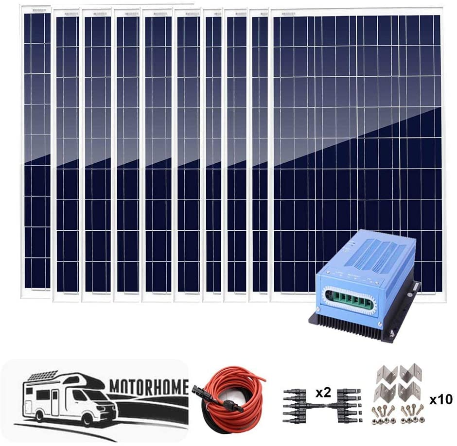 AUECOOR 1000 Watt 1KW 12V Solar Panel Off Grid System RV Boat Kit with 60A PWM Charge Controller/Solar Cable/Y connectors