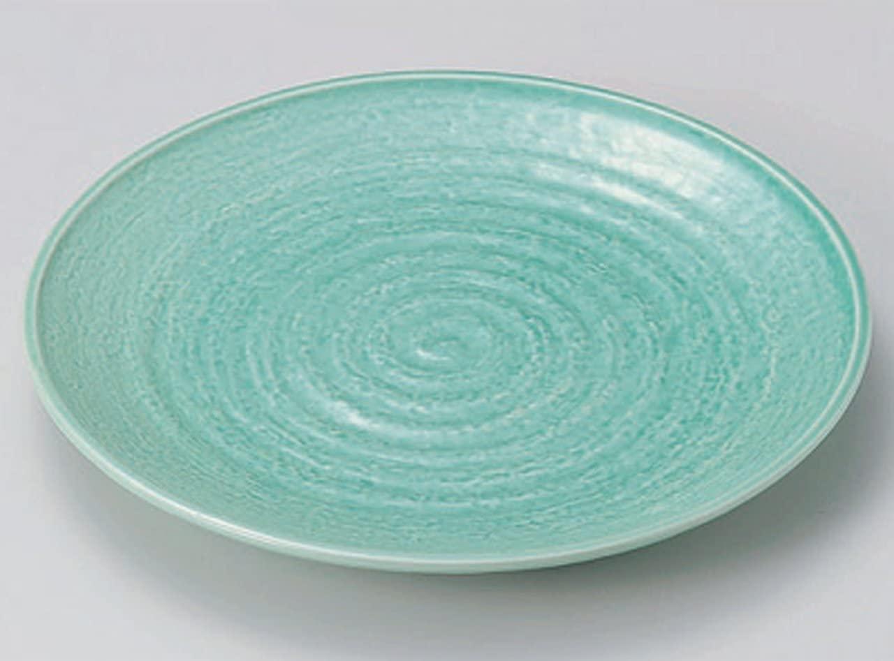 Banko Yaki Blue Glaze Jiki Japanese Traditional Porcelain Large Plate Made in Japan