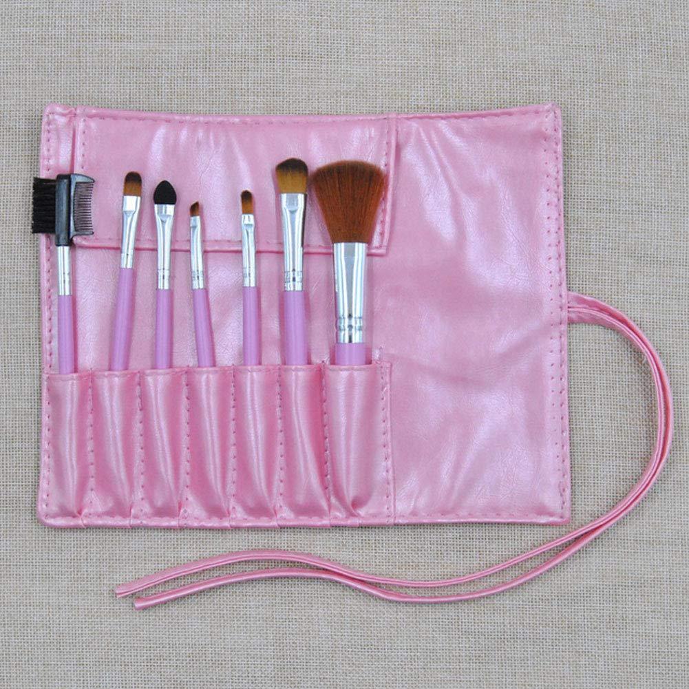 7 Pcs Pink Makeup Brushes with Pu Leather Bag Professional Cosmetics Powder Foundation Blusher Eyeshadow Make Up Brushes Makeup Tool