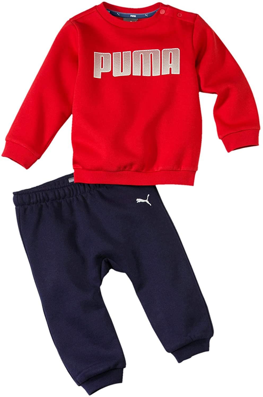 PUMA Infant Jog Suit Boys Sweatsuit Minicats Fleece Babies Top Pant Set Navy/Red 580305 11