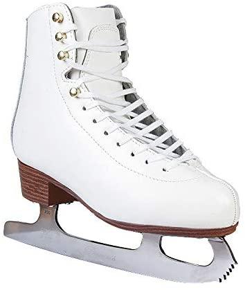 Golden days Premium Leather Figure Skate Shoes Adult Children Figure Skates Skate Shoes Speed Skating Adult 9 White