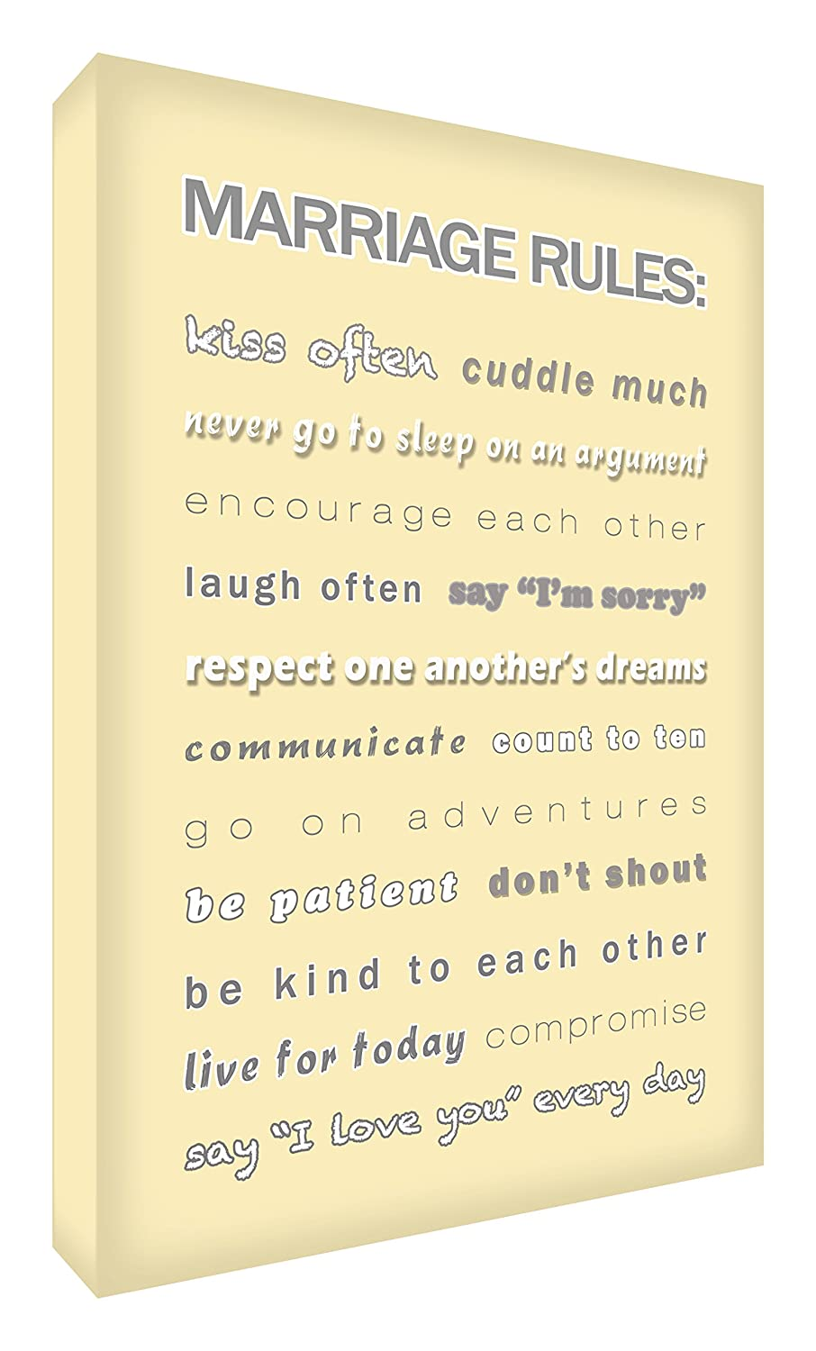 Feel Good Art Marriage Rules Gallery Wrapped Modern Box Canvas with Solid Front Panel (60 x 40 x 4 cm, Cream)