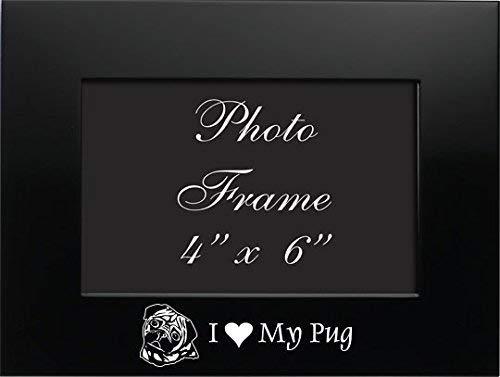 4x6 Brushed Metal Picture Frame-I love my Pug-Black