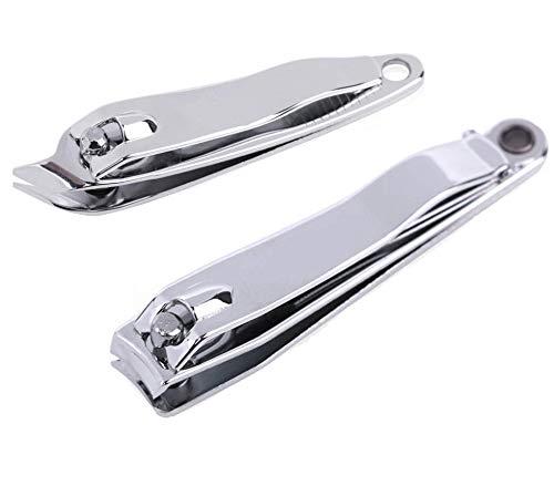 LASSUM Nail Clippers Set 2 PCS Fingernail Clipper & Catcher Slant Edge Nail Cutter, Stainless Steel Nail Clipper Cutter Pedicure Manicure Tool