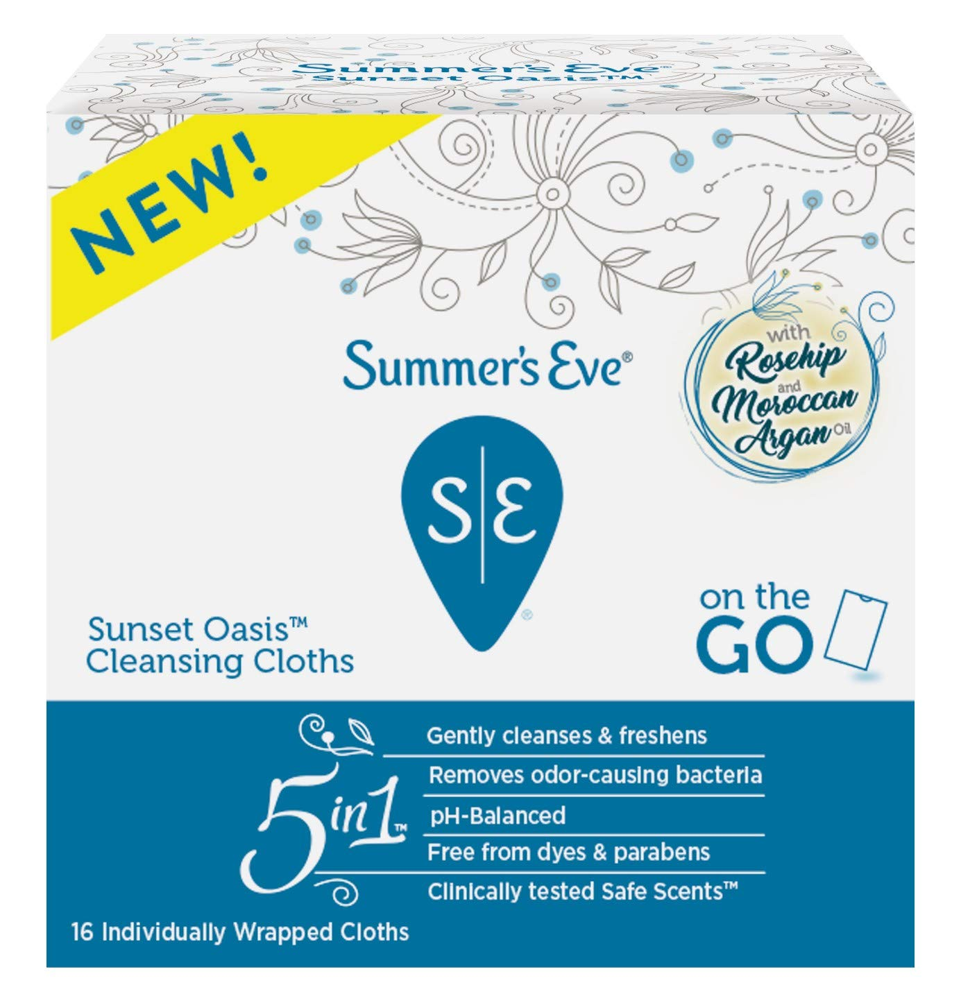 Summers Eve Cleansing Cloths 16 Count Sunset Oasis (3 Pack)