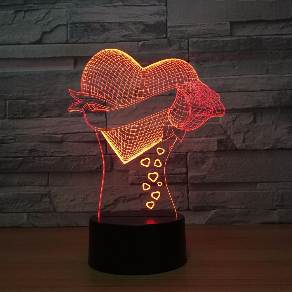 LED Night Light with Love Roses Pattern,7 Colors Changing with USB Cable,Touch Remote Control, Best for Children Gift Baby Bedroom and Party Decorations.