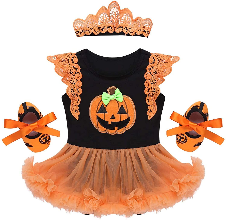 iiniim Baby Girl's Halloween Pumpkin Tutu Romper Outfits with Headband Leg Warmer Shoes