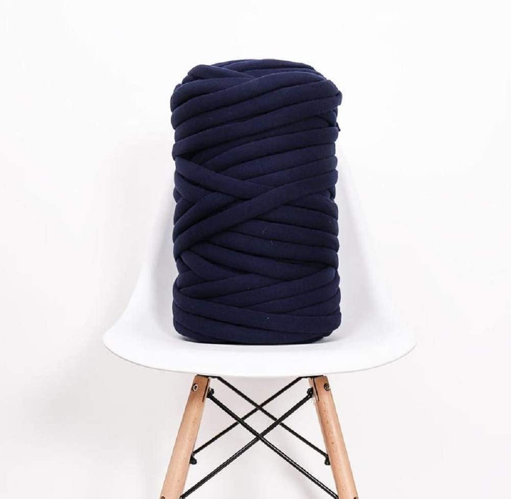 Vegan Super Bulky Yarn DIY Arm Knitting Cotton Chunky Throw Yarn Handmade Chunky Knit Blanket Thick Yarn Machine Washable Yarn Christmas Gift Navy 1.1 lbs