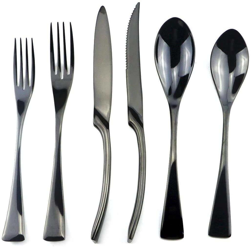 Uniturcky Stainless Steel Mirror Polished Black Flatware Set, Steak Knife Dinnerware Knife Fork Salad Fork Dessert Spoon 24-Piece, Service for 4