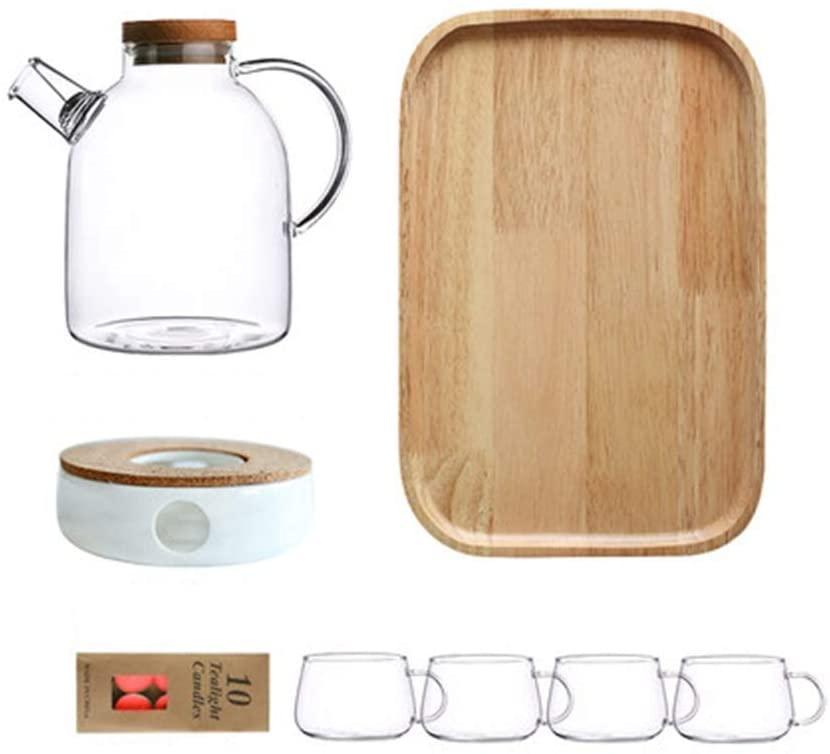 HLD High Borosilicate Glass Teapot, Tea Brewing, Teapot, Single Pot + Tea Stove, Tea Set, Flower Teapot Set, Home Cup