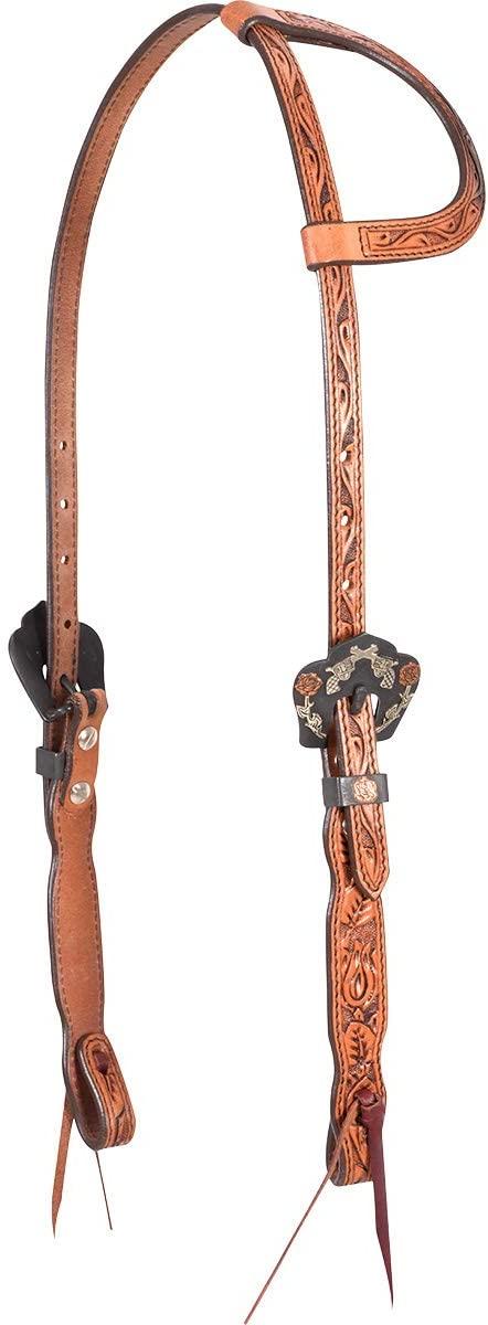 Cashel Headstall Rosebud Tooled Guns Roses Buckles Slip Ear SA-HF19GR