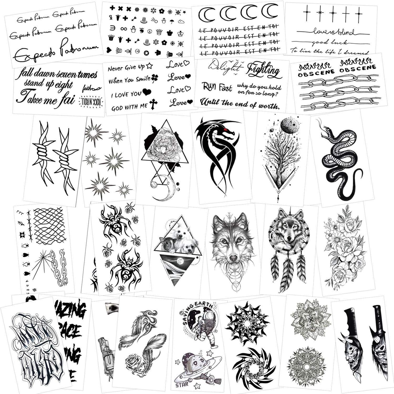 HOWAF Temporary Tattoos for Adult Men Women Kids(30 Sheets), Waterproof Temporary Tattoo Fake Tattoos Body Art Sticker Hand Neck Wrist Cover Up Set, Dragon Anchor Skull Wolf Etc (C)