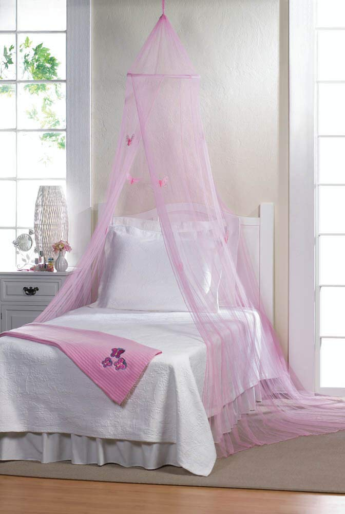 Pink Butterfly Girl Tulle Canopy Mosquito Bug Net Netting Bedroom Bed Curtain
