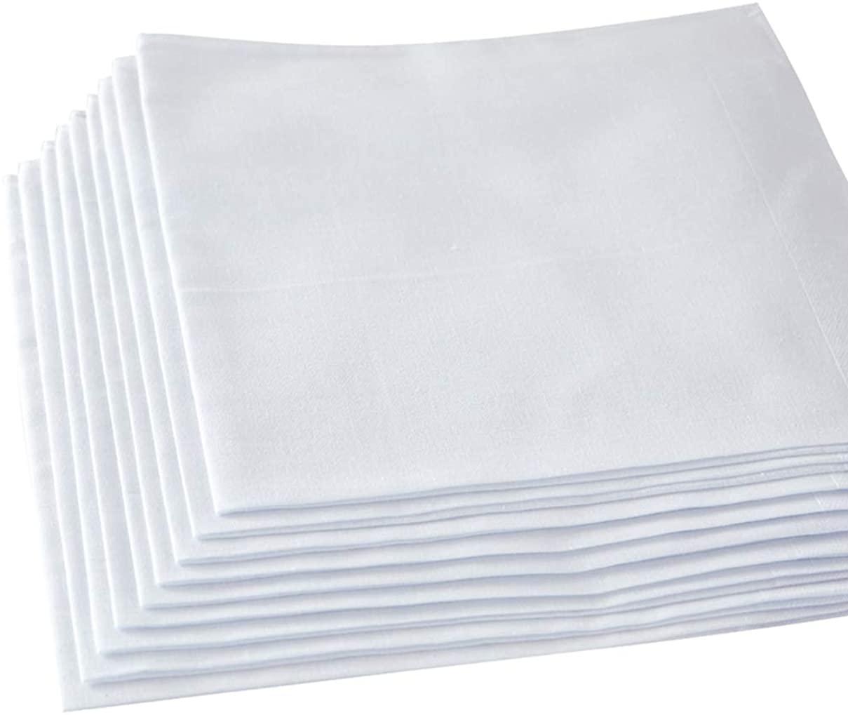 Ricosky Women'sLadies Pure White Handkerchiefs,12 inch,100% Cotton, Pack of 12