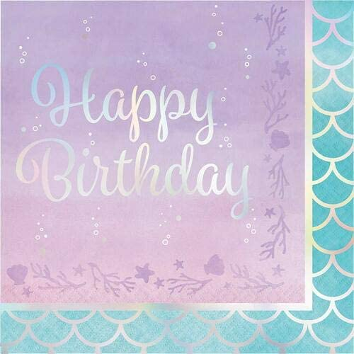 Creative Converting, IRIDESCENT LUNCHEON NAPKIN, HAPPY BIRTHDAY, 0.055x12.75x12.875inc