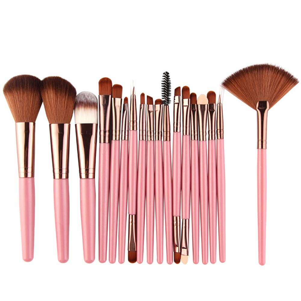 18pcs makeup brush set super soft synthetic fluffy beauty tools full set of professional makeup brushes (Pink)