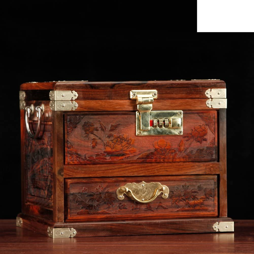 WODESHIJIE Wood Retro Wedding Red Jewelry Boxes