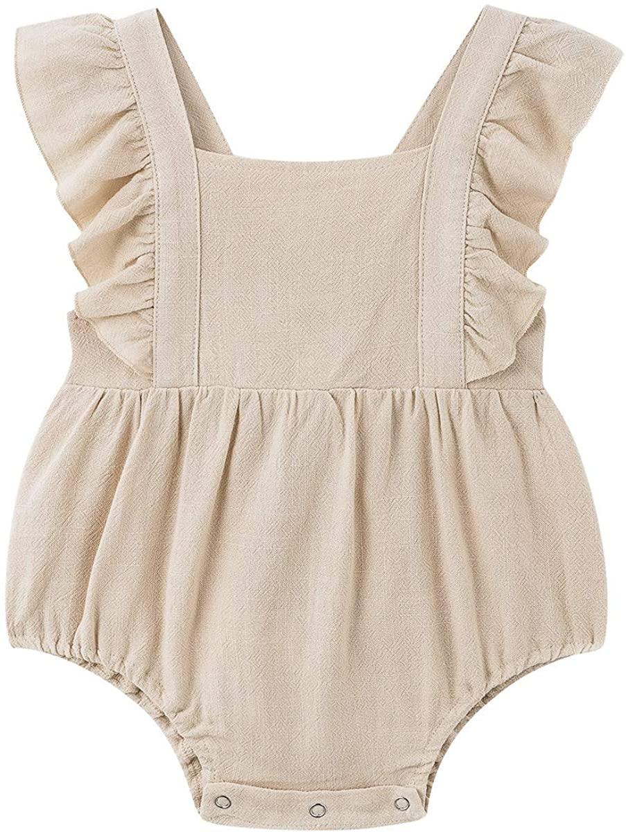 Simplee kids Baby Onesies Unisex Cotton Linen Handmade Romper Jumpsuit Solid Color Long Sleeve Jumpsuit