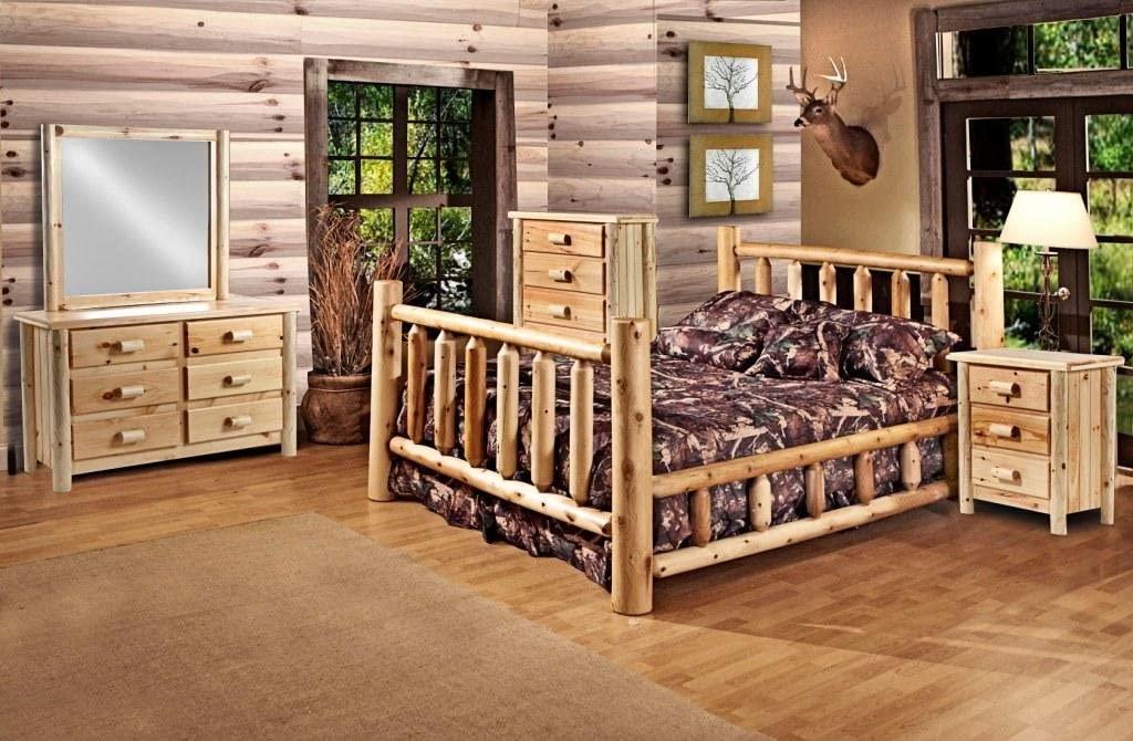 Rustic 5 Pc Pine Log Bedroom Suite Rustic Bed (King)