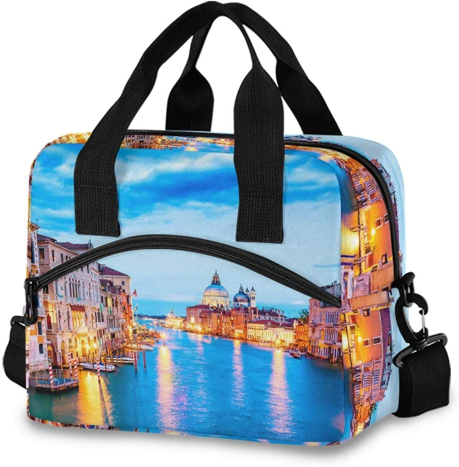 Sunset Venice Italy Boats Lunch Bag for Women Men Insulated Tote Bag with Detachable Shoulder Strap & Carry Handle,Reusable Cooler Bag for Work School Picnic