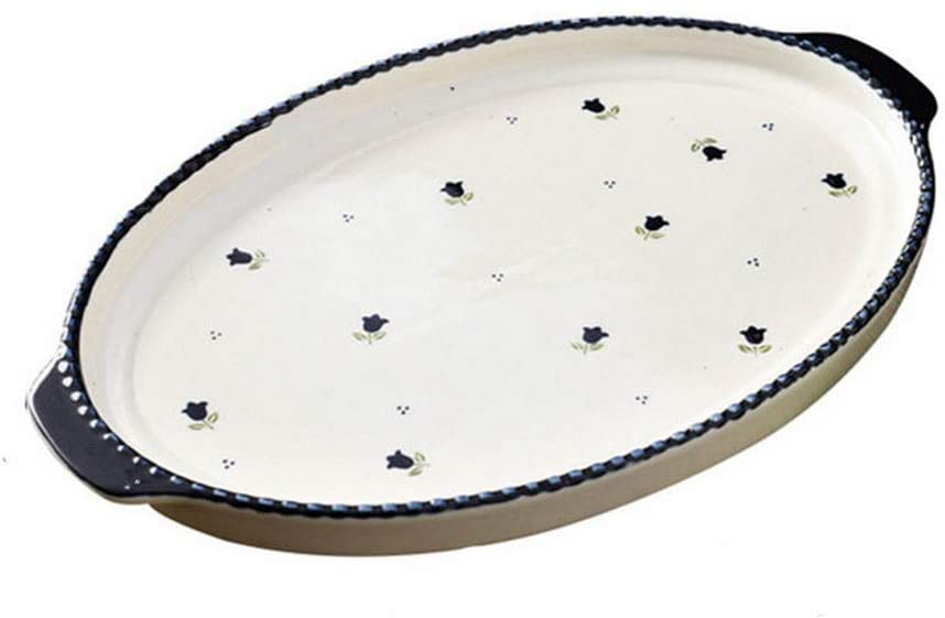 Creative Home Ceramic Baking Dish Baking Bowl, Small Blue Flowers And Beige