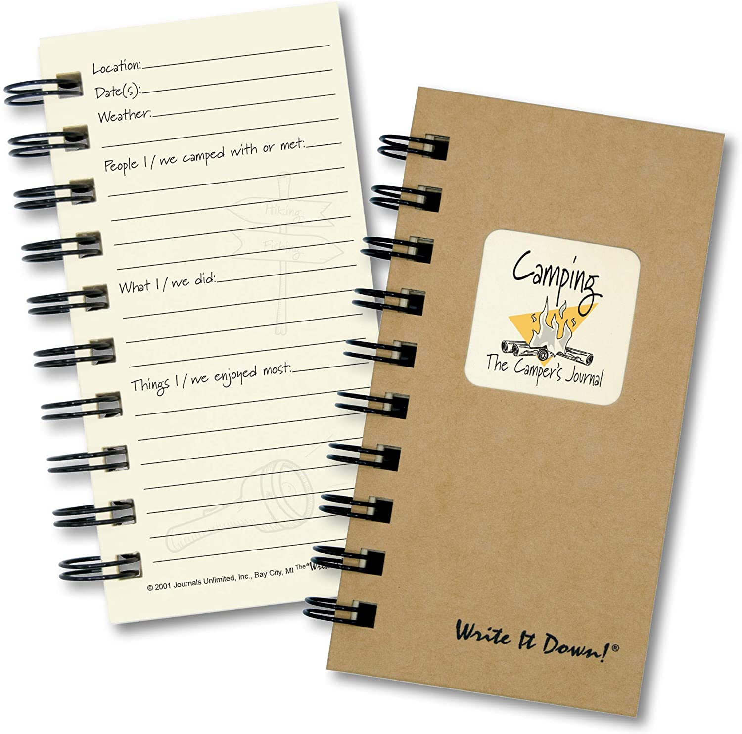 Camping, The Campers Journal - MINI Kraft Hard Cover (prompts on every page, recycled paper, read more...)