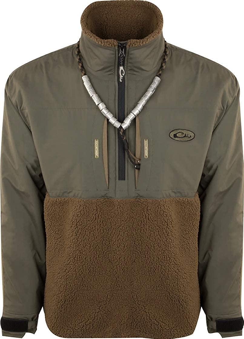 Drake Waterfowl MST Guardian Flex Sherpa Fleece Eqwader 1/4 Zip Green Timber Large