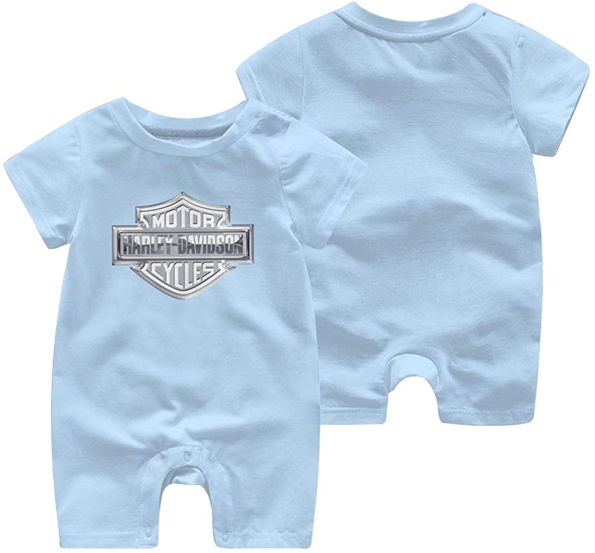 Harley Davidson One Piece Outfits Baby Solid Color Rompers with Button Kids Short Sleeve Playsuit Jumpsuits Cotton Clothing 12 Months Sky Blue