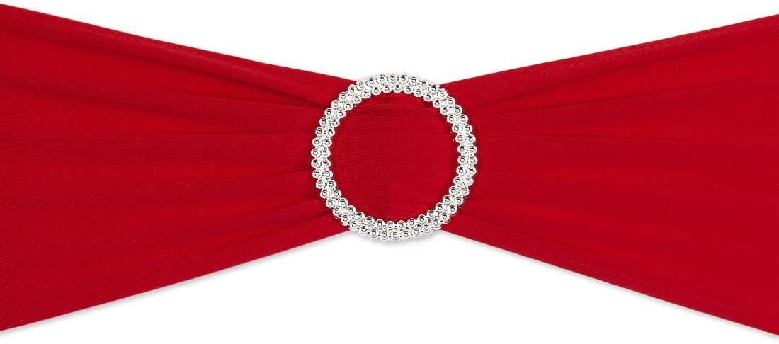 LinenTablecloth Stretch Chair Sash Red with Round Buckle 5 pack