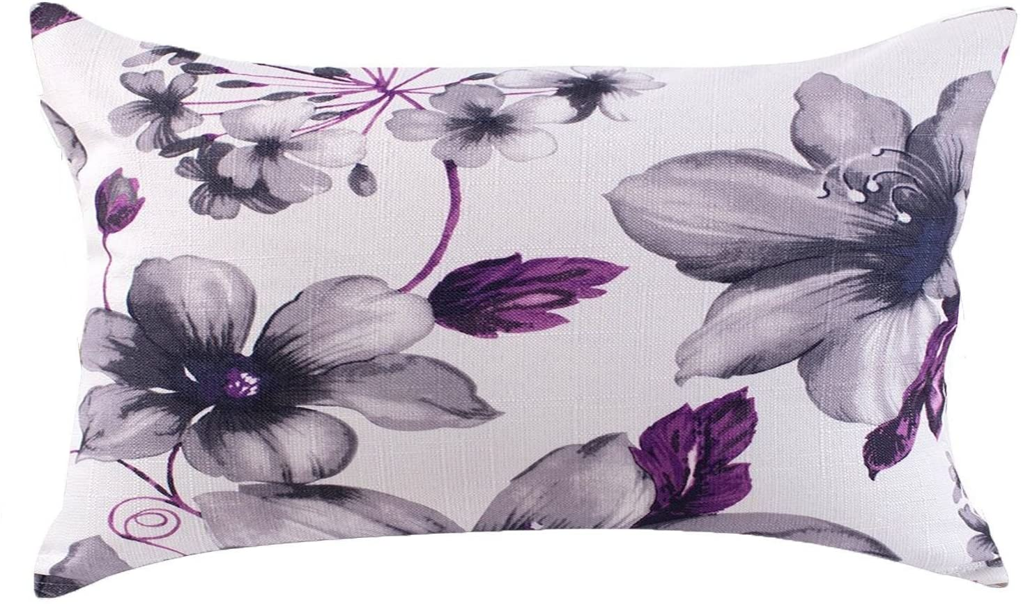 LAZAMYASA Fresh Animal Style Beautiful Rustic Birds Cotton Linen Blend Printed Cushion Cover Cotton Couch Throw Pillow Case Sham Pillowcase 12x20in, Purple Flower