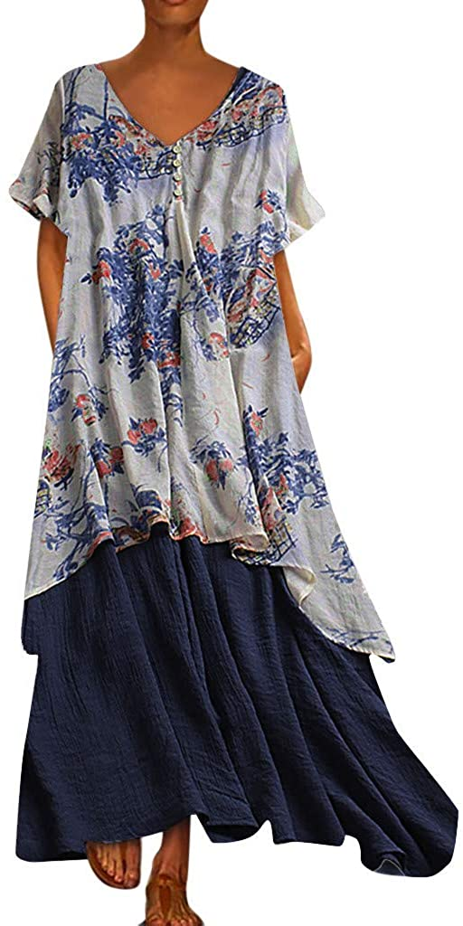 XQXCL Autumn Vintage Bohemian Print Floral Women Dress Short Sleeve V-Neck Pleated Maxi Dresses Office Ladies Dress