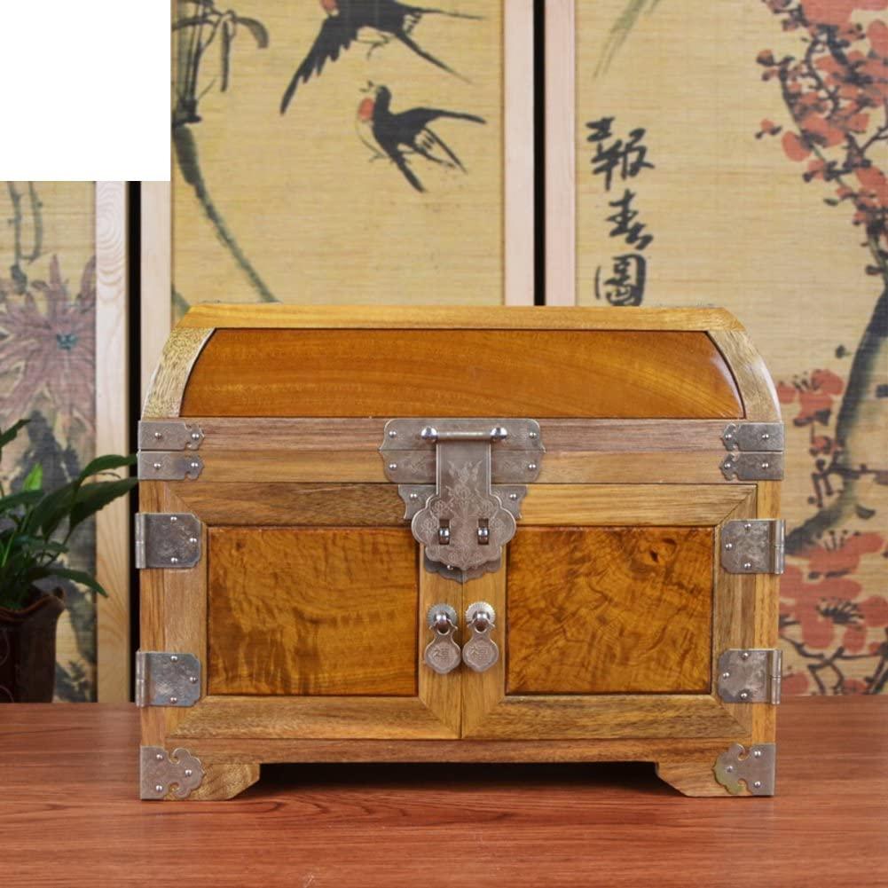 MYITIAN Phoebe Suitcase Jewel Box Golden Cedar Dresser Jewelry Box Mirror Box Chinese Classical Arts and Crafts-A