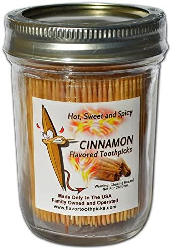 Cinnamon Flavored Wood Toothpicks in Glass Jar 600 Qty (Cinnamon)