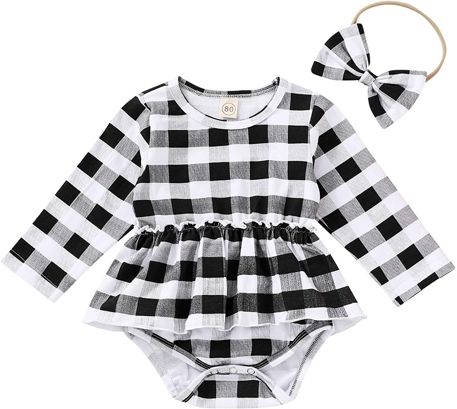 Newborn Baby Plaid Ruffle Romper Long Sleeve Jumpsuit Bowknot Headband Clothes Outfit