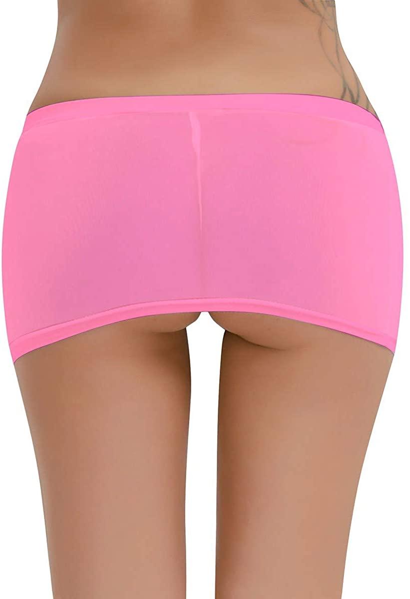 FEESHOW Womens Semi-See Through Stretch Bodycon Micro Mini Skirt Dress
